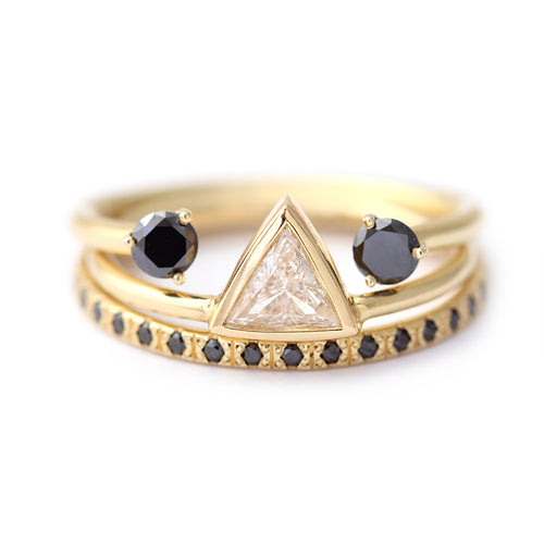 Three Rings Set: Triangle Diamond with Black Diamond Rings