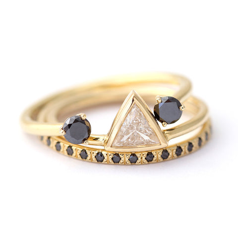 triangle diamond wedding set
