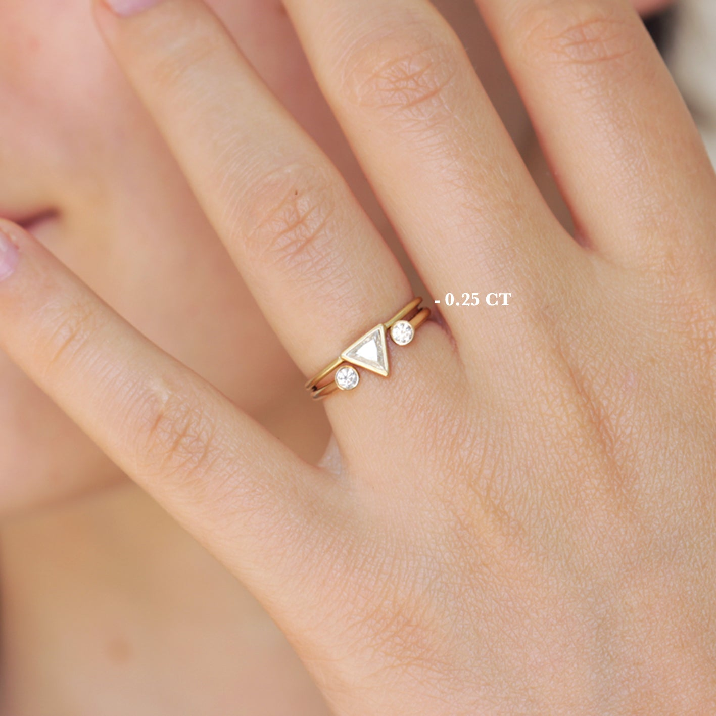 Trillion Diamond Ring - Simple Engagement Ring