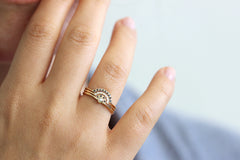 Bridal Set of Three Rings on finger