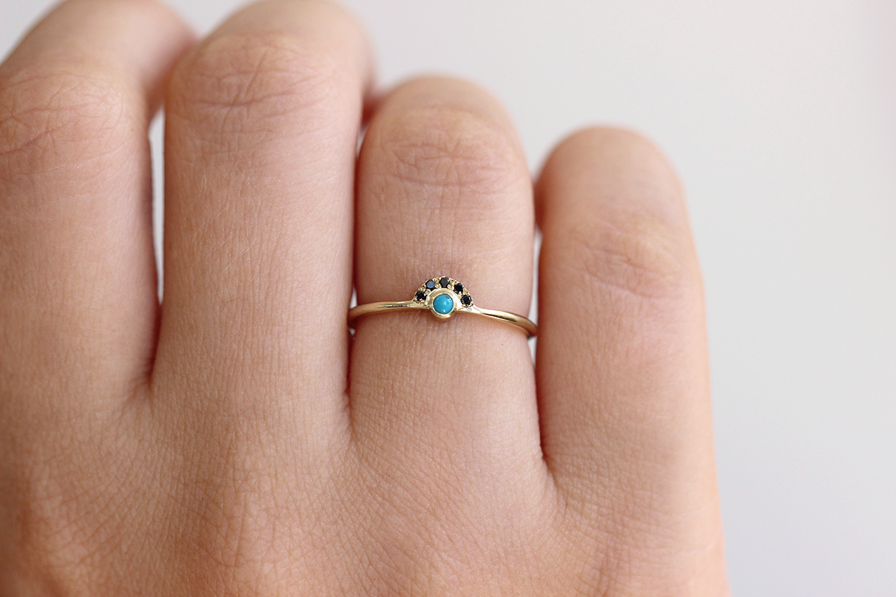 Tiny Turquoise Ring on hand