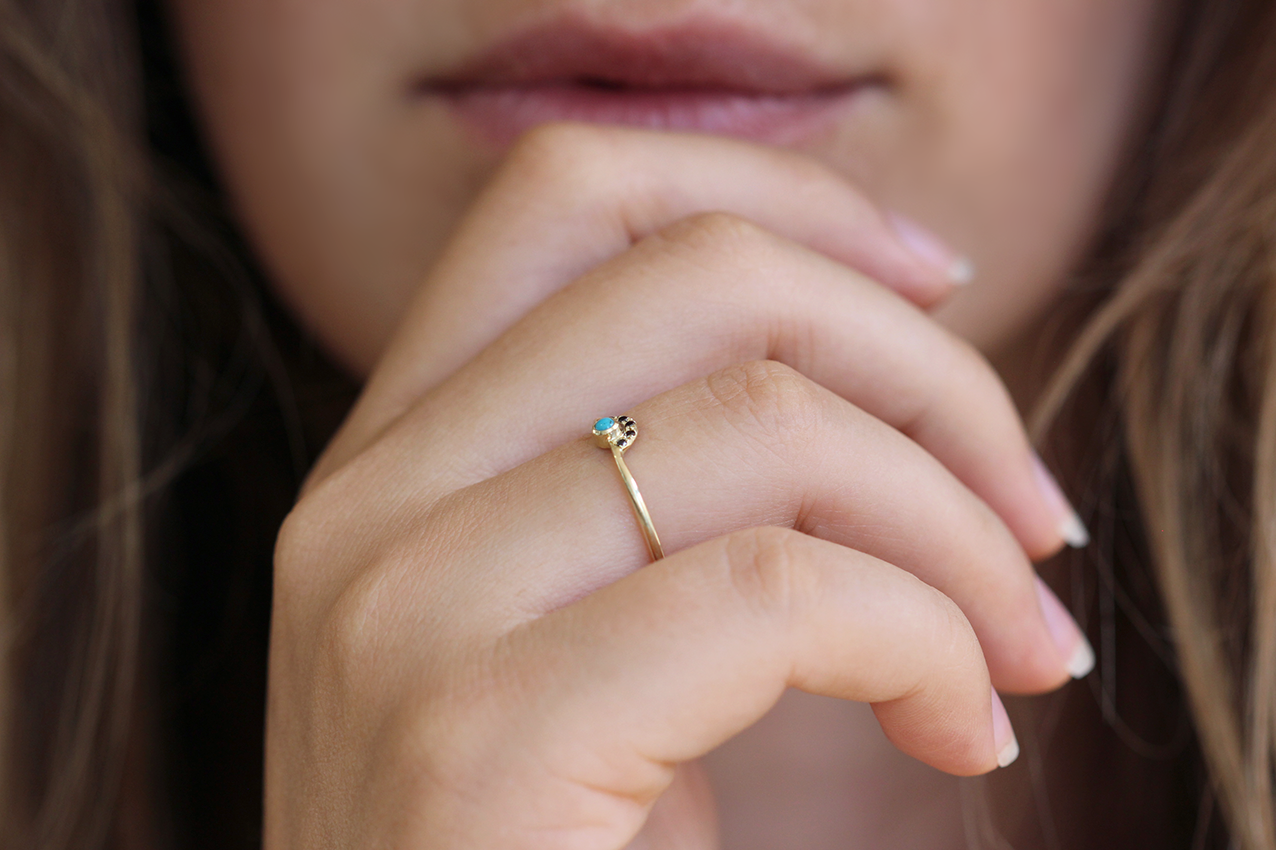 Turquoise Diamond Ring on finger