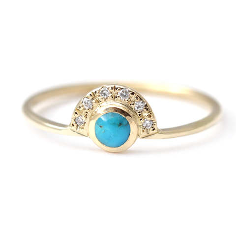 turquoise and diamond ring alternative engagement ring