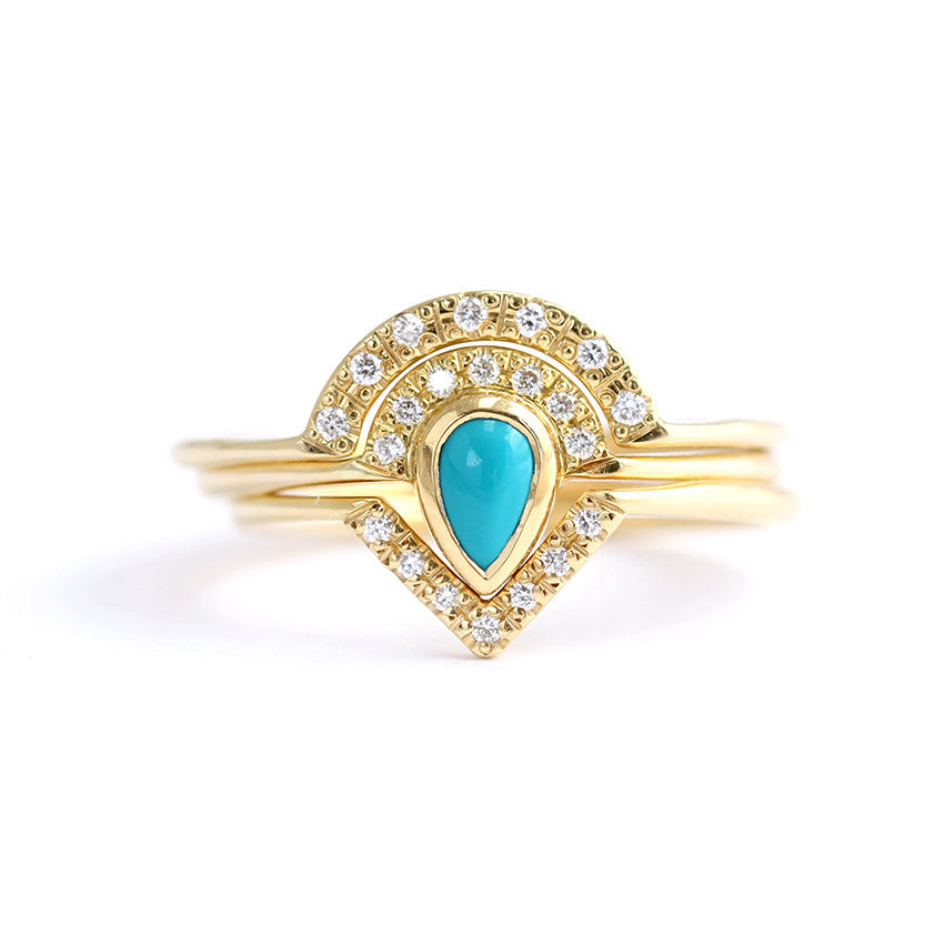 Turquoise Wedding Ring Set Bohemian Wedding Set ARTEMER