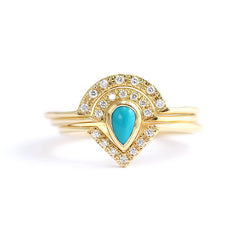Turquoise and Diamond Bridal Set