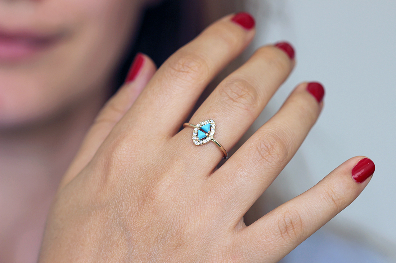 Turquoise Diamond Ring - Bohemian Engagement Ring