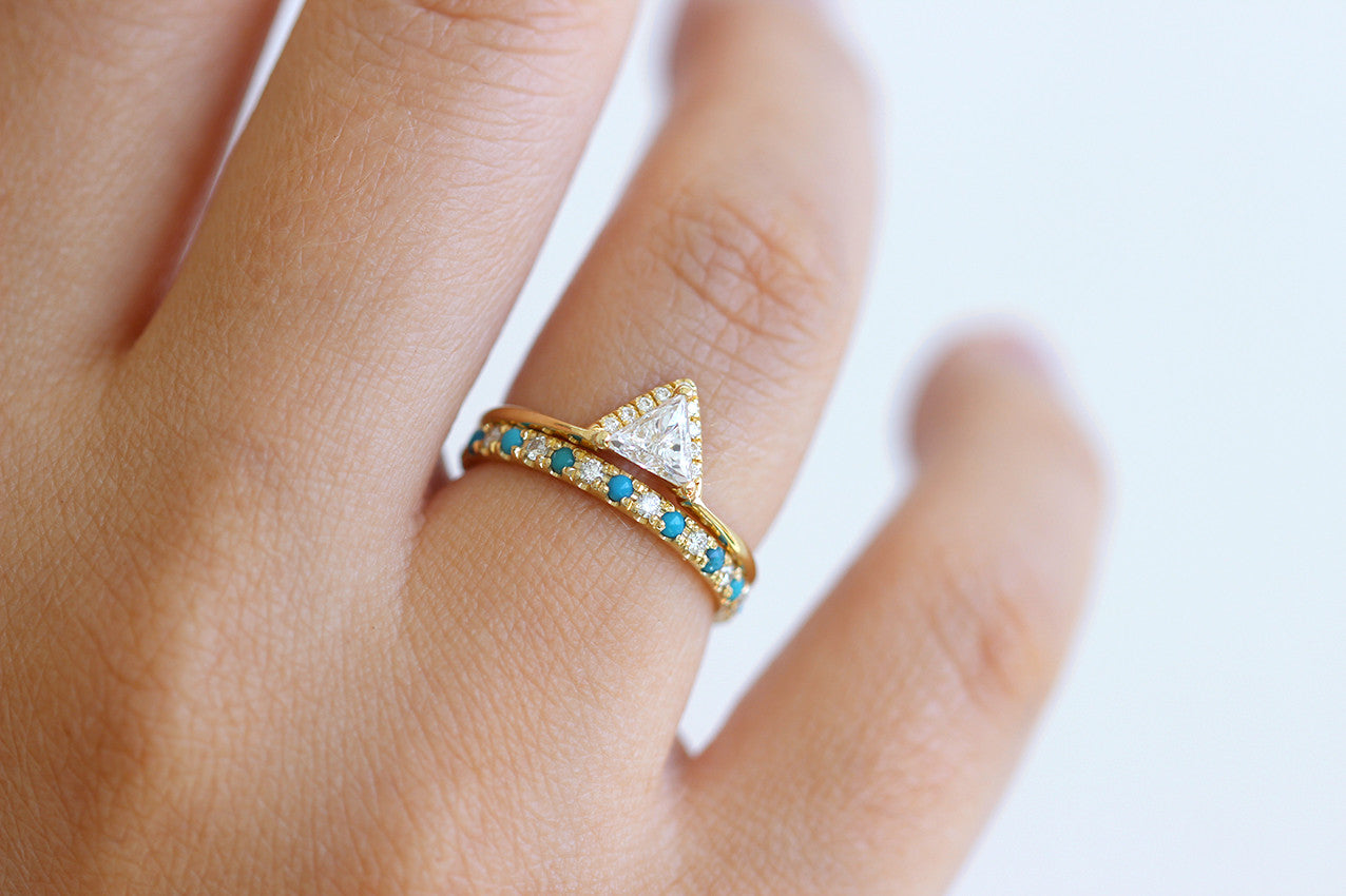 Turquoise Eternity Ring Set