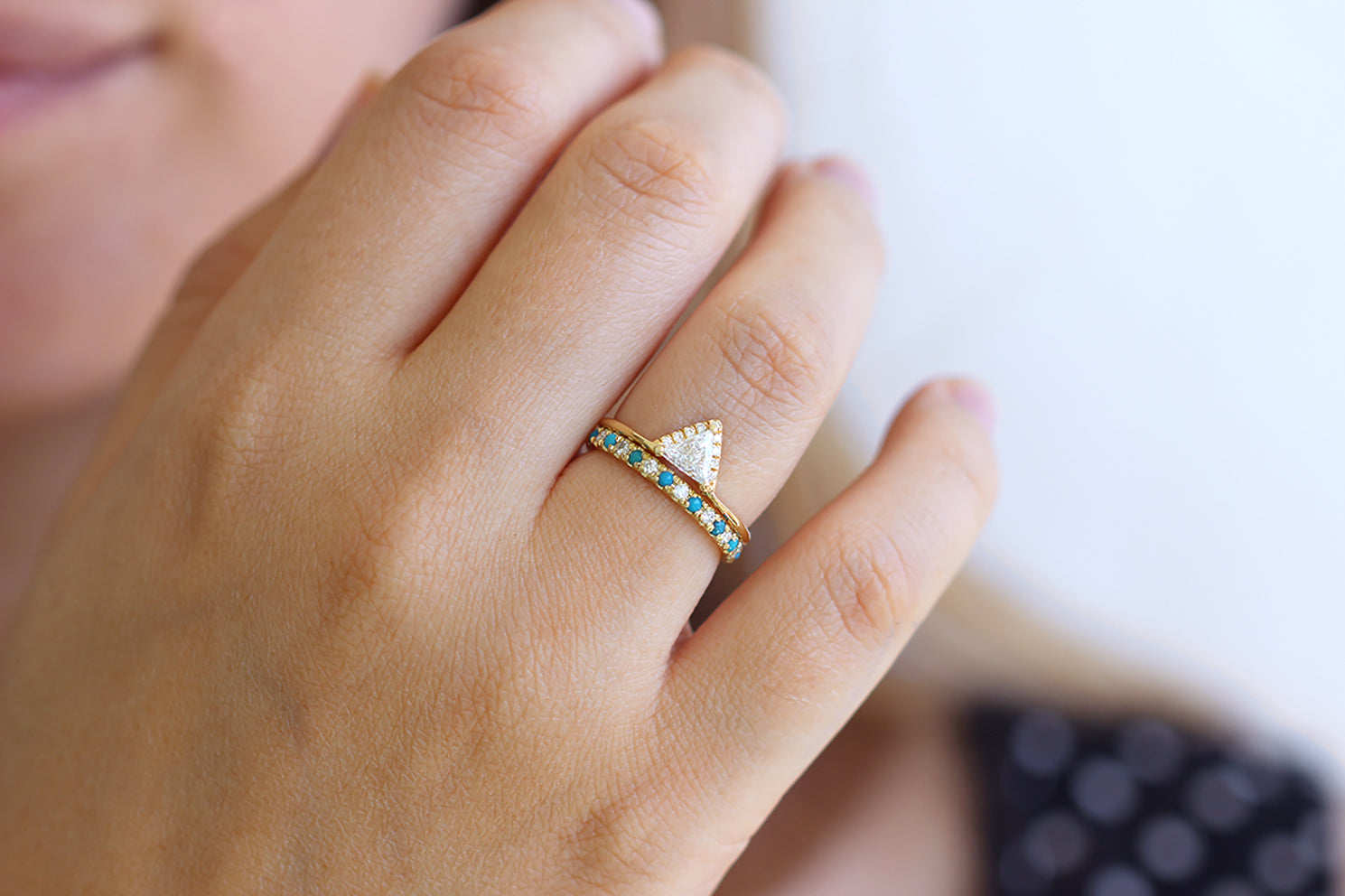 Turquoise Wedding Ring with Diamonds in a Set