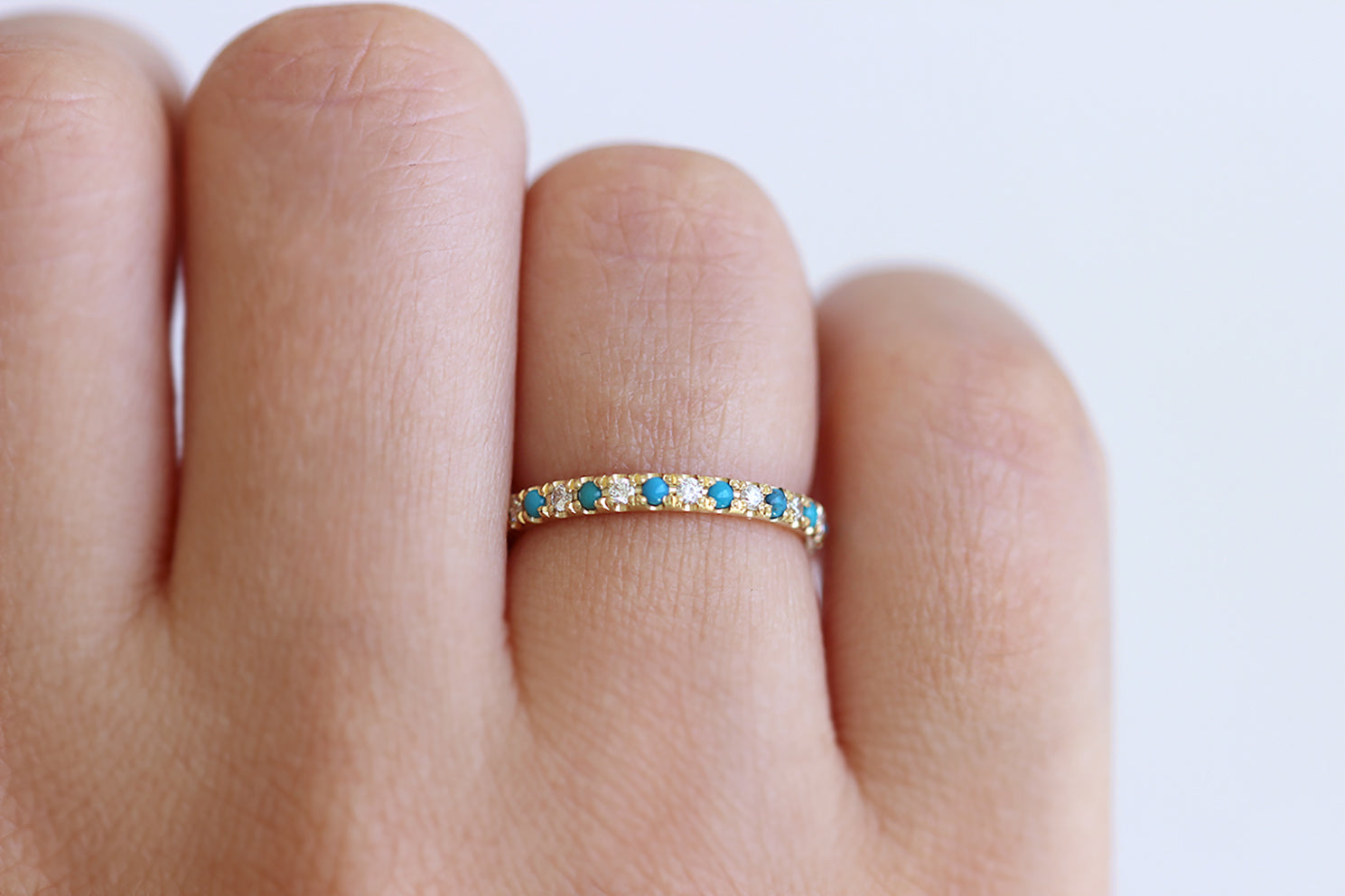 Turquoise Wedding Ring with Diamonds On Hand
