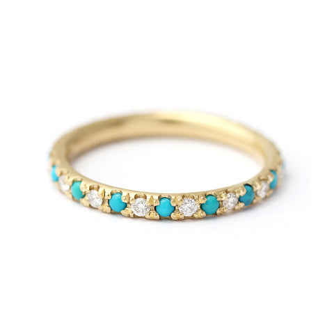 Turquoise Wedding Ring with Diamonds