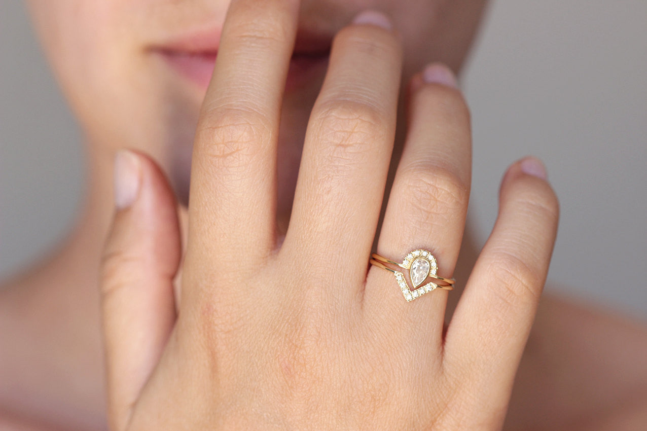 0 3 carat pear diamond engagement ring with diamonds crown 18k solid gold pear shaped wedding ring 0 3 diamond ring on finger Pear Diamond Engagement Ring