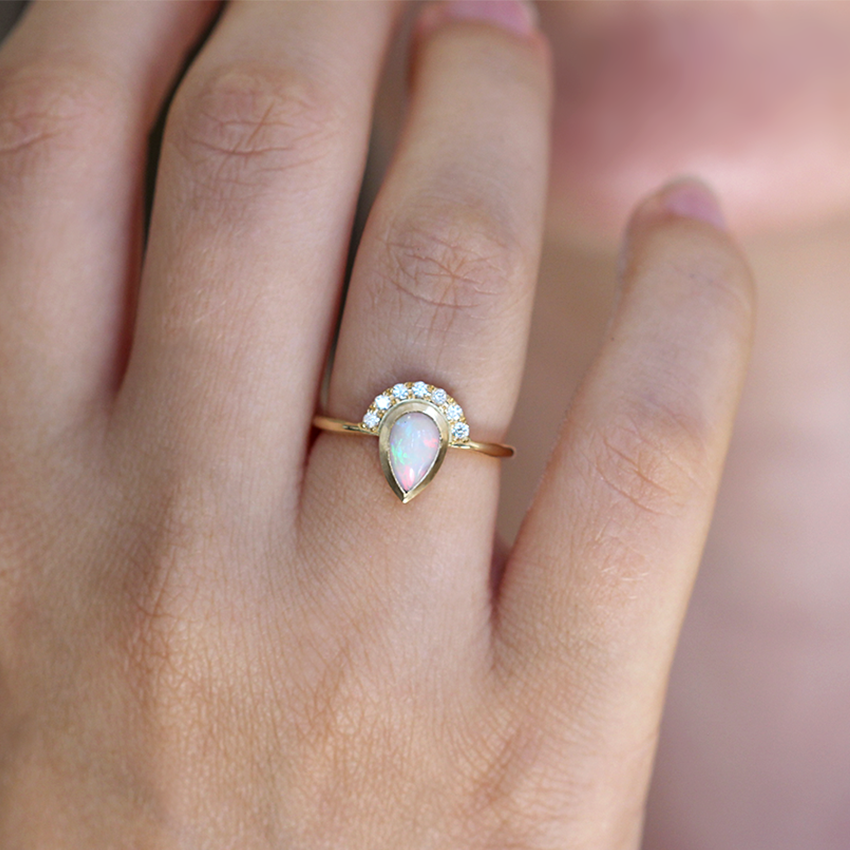 twist gold diamond white wg engagement accents opal with ring meteorite products rings in