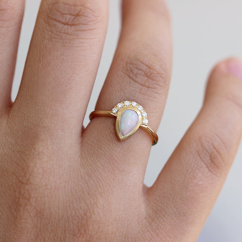 Opal Diamond Ring On Finger