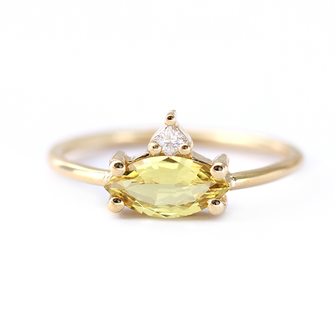 One Carat Yellow Sapphire Engagement Ring with Princess Diamond