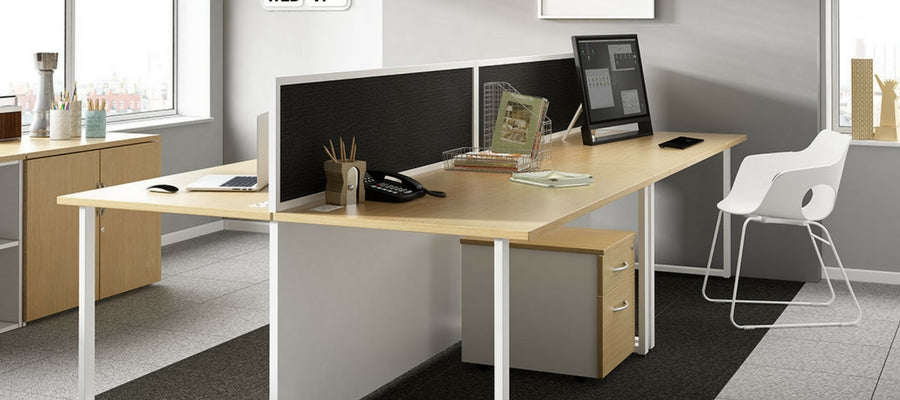 Back2Back office desks with privacy screen