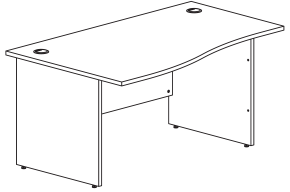 panel end desk dimensions