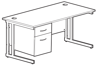 KOMO Value Double Pedestal Cantilever desk dimensions