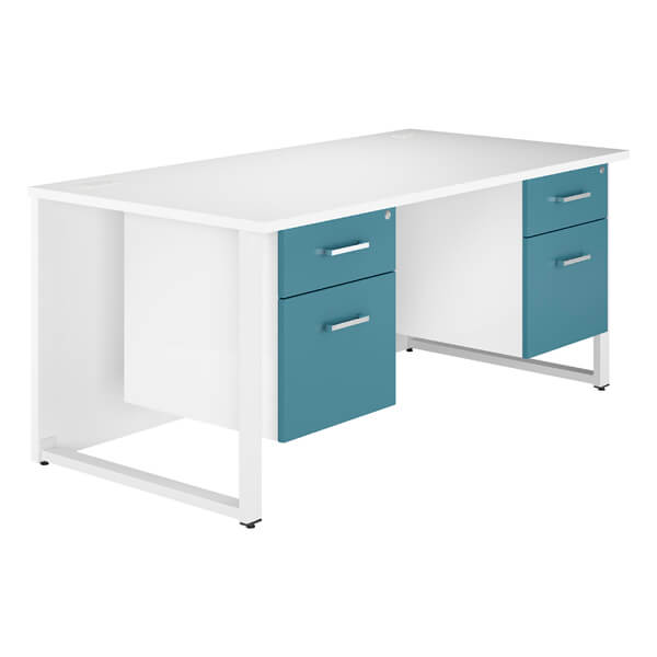 B2 Workology Double Pedestal Desk (6 HD colours) W1600mm / Blue / Next Working Day — Kit Out My Office - 2