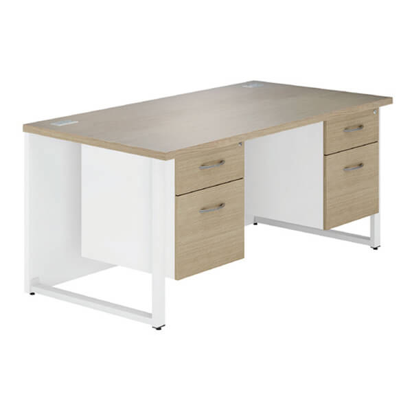 B2 Workology Double Pedestal Desk  (2 colours) W1600mm / Natural Oak / Next Working Day — Kit Out My Office - 1