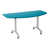 Kaleidoscope KOMO D-End Eco Flip Top Meeting Table with Silver Leg