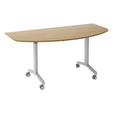 Sylvan KOMO D-End Eco Flip Top Meeting Table with Silver Leg