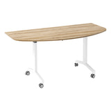 Urban KOMO D-End Eco Flip Top Meeting Table with White Leg