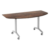 Urban KOMO D-End Eco Flip Top Meeting Table with Silver Leg