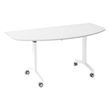 Kaleidoscope KOMO D-End Eco Flip Top Meeting Table with White Leg