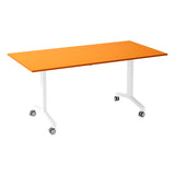 Kaleidoscope KOMO Rectangular Eco Flip Top Meeting Table with White Leg