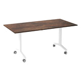 Urban KOMO Rectangular Eco Flip Top Meeting Table with White Leg