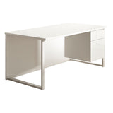 HD White KOMO Rectangular Desk with Hoop Legs and Touch Single Pedestal