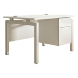 HD Touch KOMO Rectangular Desk with White Bench Legs and Single Pedestal