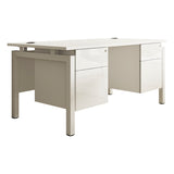 HD Touch KOMO Rectangular Desk with White Bench Legs and Double Pedestal