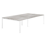 Urban R8 Lite 4 Person Back To Back Desk with White Bench Legs