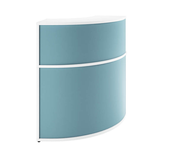 Curved Reception Desk Corner Unit  (6 HD colours) W800mm / Light Blue / 14 Working days — Kit Out My Office - 1
