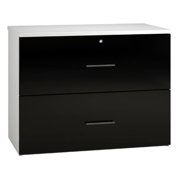 Noble Side Filing Cabinet Drawers (6 high gloss colours) Black / H730mm | 2 Drawer / Next Working Day — Kit Out My Office - 2