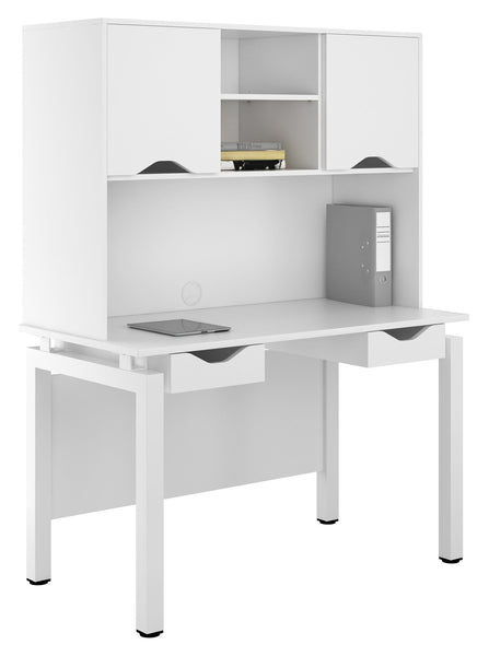 Arctic White 1200mm Desk, with Double Drawer & Overhead Storage Cupboard W1200mm / Matt White — Kit Out My Office - 1