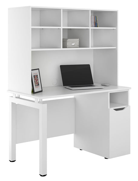 Arctic White Desk with Storage & Cupboard W1200mm / Matt White — Kit Out My Office - 1