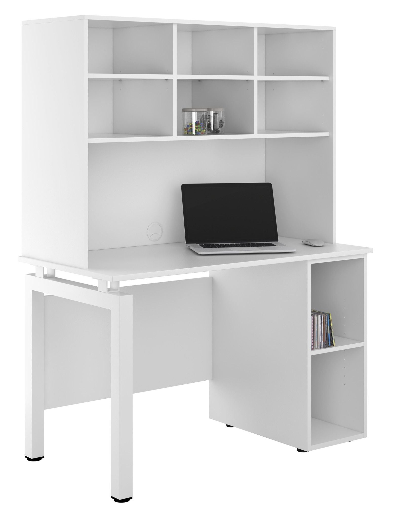 outlet store d04b8 b6499 UCLIC White Desk with Bench Legs + Base Unit + Overhead Storage