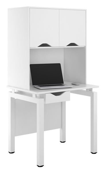 Arctic White Desk with Single Drawer + Overhead Storage W800mm / Matt White — Kit Out My Office - 1