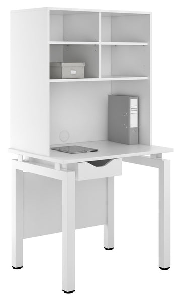 Arctic White Computer Desk + Storage W800mm / Matt White — Kit Out My Office - 1