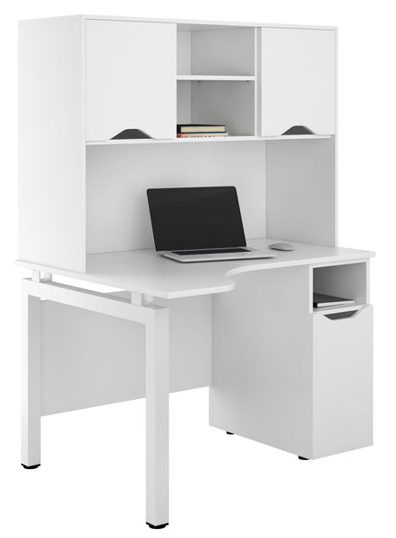 Arctic White Corner Desk Workstation + Storage W1200mm / Matt White — Kit Out My Office - 1
