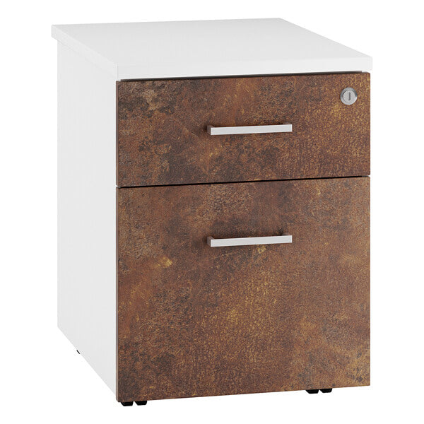URBAN Mobile Under Desk Pedestal - 2 Drawer  (4 colours) H562mm / Rusted Steel / Next Working Day — Kit Out My Office - 2