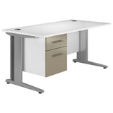Reflections Valoir Deluxe Rectangular Desk with Silver Cantilever Legs and Single Pedestal