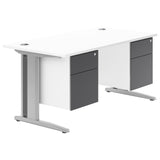 HD Valoir Deluxe Rectangular Desk with Silver Cantilever Legs and Double Touch Pedestal
