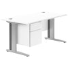 HD Valoir Deluxe Rectangular Desk with Silver Cantilever Legs and Single Touch Pedestal