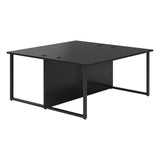 Vanta Black Rectangular Back to Back Desk with Hoop Legs