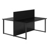 Vanta Black Rectangular Back to Back Desk with Screen
