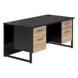 Vanta Black Rectangular Desk with Hoop Legs and Double Pedestal