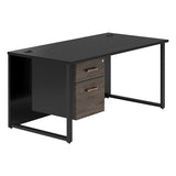 Vanta Black Rectangular Desk with Hoop Legs and Single Pedestal